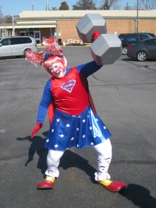 Katie as Super Clown, the world's strongest clown