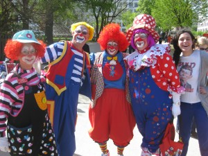 Clowns pose for pictures before the 2012 Cherry Blossom Festival Parade